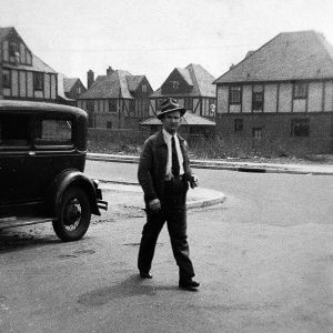 My Dad going to work at Stafford Hudson Laundry 96-03 69th Ave Forest Hills Queens circa 1940 -- Notice how shirt & tie -- he was very proper!